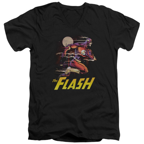 Image for Justice League of America V Neck T-Shirt - City Run