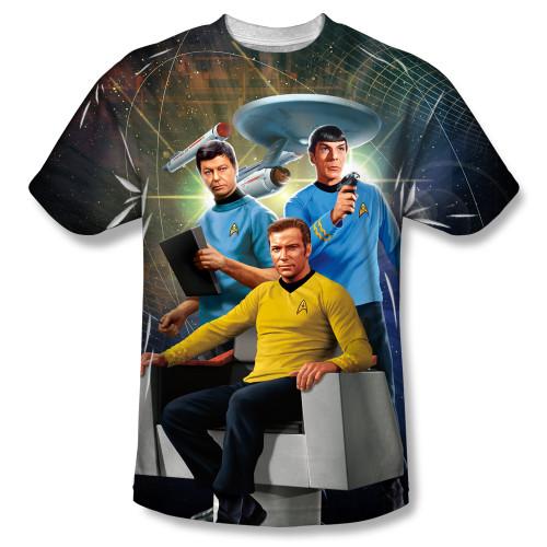 Image for Star Trek Sublimated T-Shirt - Kirk Spock McCoy 100% Polyester
