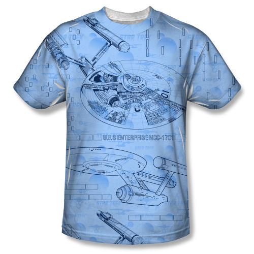 Image for Star Trek Sublimated Youth T-Shirt - Enterprise Blue Print 100% Polyester