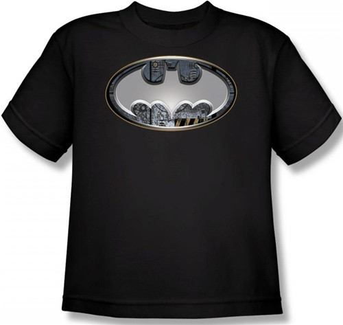 Image for Batman Youth T-Shirt - Steel Wall Shield Logo