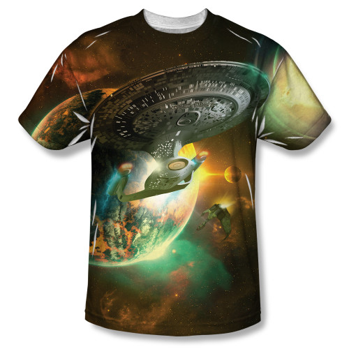 Image for Star Trek Sublimated T-Shirt - Ship Battle 100% Polyester