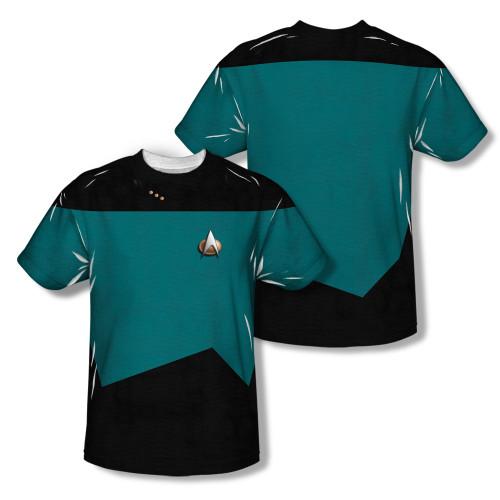 Image Closeup for Star Trek Sublimated T-Shirt - TNG Science Uniform