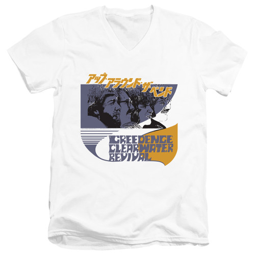 Image for Creedence Clearwater Revival V Neck T-Shirt - Around the Band Kanji