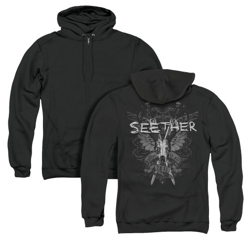 Image for Seether Zip Up Back Print Hoodie - Suffer
