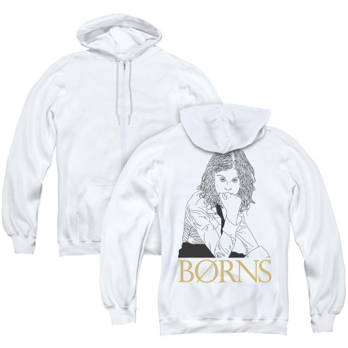 Image for Borns Zip Up Back Print Hoodie - Outline