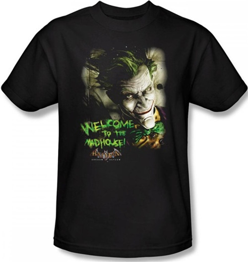 Image Closeup for Batman T-Shirt - Arkham Asylum Welcome to the Madhouse