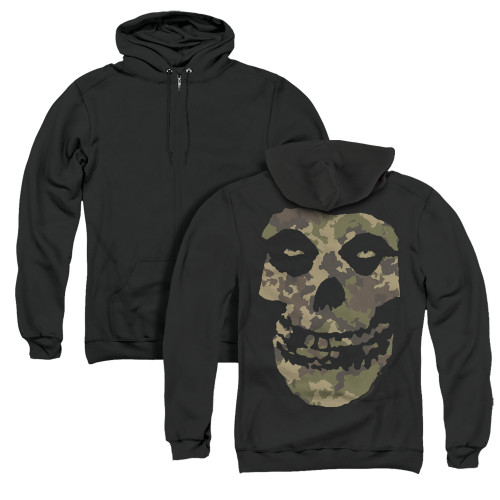 Image for The Misfits Zip Up Back Print Hoodie - Camo Skull