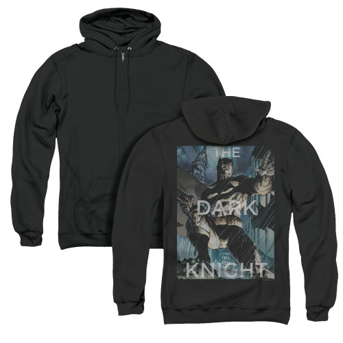Image for Batman Zip Up Back Print Hoodie - Fighting The Storm