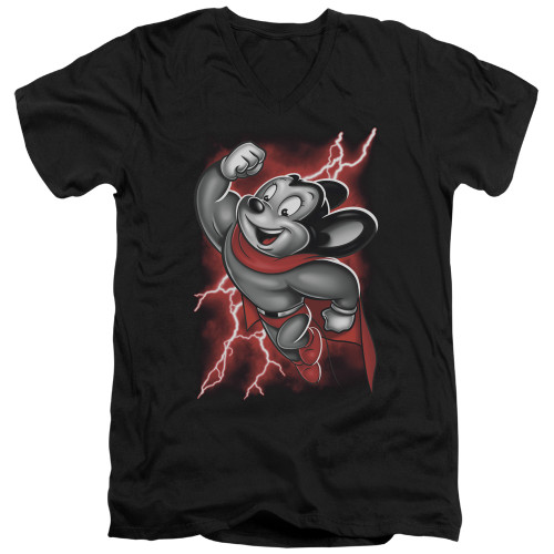 Image for Mighty Mouse V-Neck T-Shirt Mighty Storm