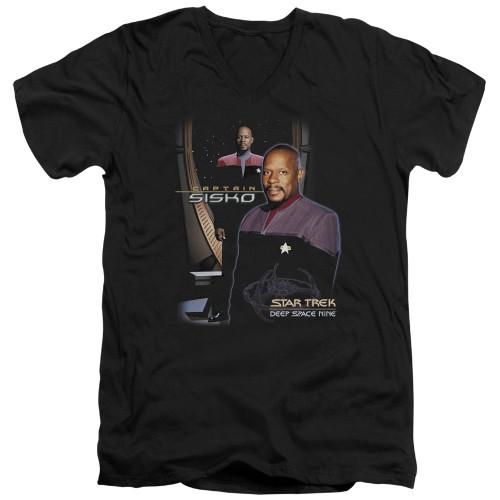 Image for Star Trek Deep Space Nine V-Neck T-Shirt Captain Sisko