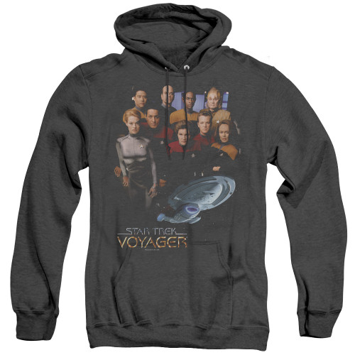 Image for Star Trek Voyager Heather Hoodie - Voyager Crew