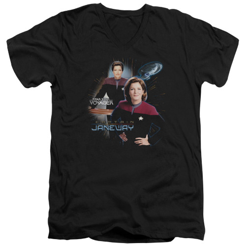 Image for Star Trek Voyager V-Neck T-Shirt Captain Janeway