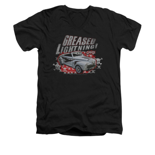 Image for Grease V-Neck T-Shirt - Greased Lightening