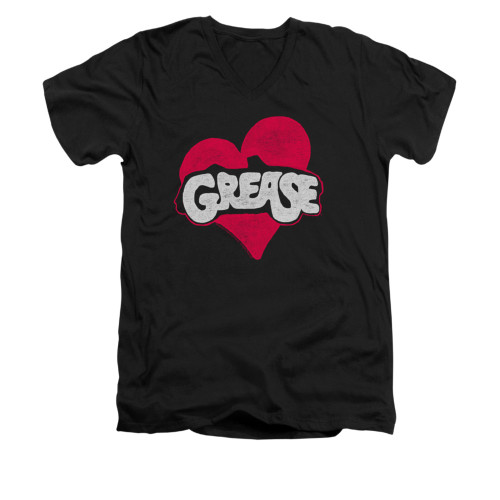 Image for Grease V-Neck T-Shirt - Heart