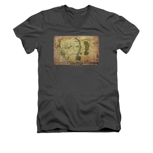 Image for The Hobbit V-Neck T-Shirt - Middle Earth Map