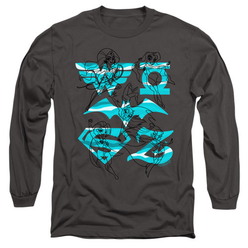 Image for Justice League of America Long Sleeve T-Shirt - Line Art Group on Charcoal