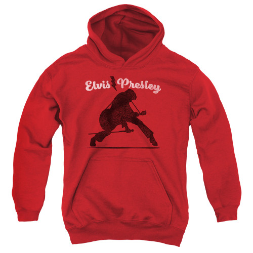 Image for Elvis Presley Youth Hoodie - Overprint on Red