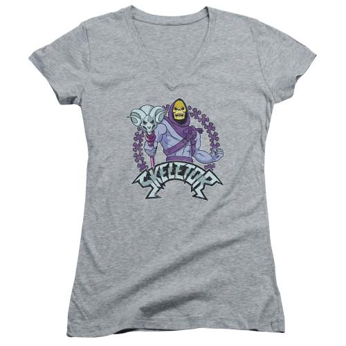 Image for Masters of the Universe Girls V Neck T-Shirt - Skeletor on Grey