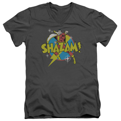 Image for Shazam V-Neck T-Shirt Power Bolt on Charcoal