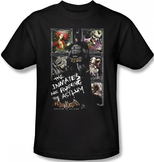 Image Closeup for Batman T-Shirt - Arkham Asylum The Inmates are Running the Asylum