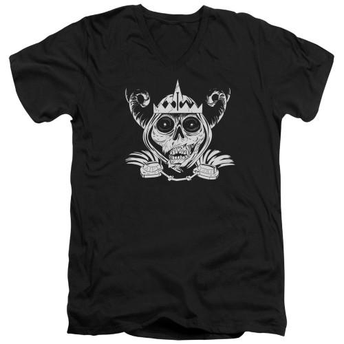 Image for Adventure Time V-Neck T-Shirt Skull Face