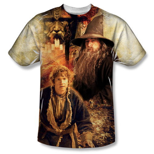 Image for The Hobbit Sublimated Youth T-Shirt - Bilbo and Gandalf 100% Polyester