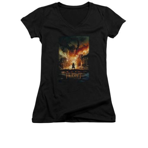 Image for The Hobbit Girls V Neck T-Shirt - Smaug Poster
