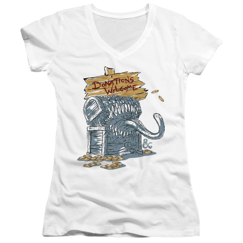 Image for Dungeons and Dragons Girls V Neck T-Shirt - Donations Welcome Mimic