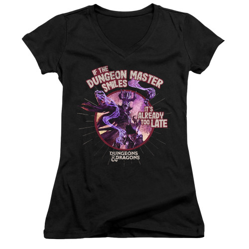 Image for Dungeons and Dragons Girls V Neck T-Shirt - Dungeon Master Smiles