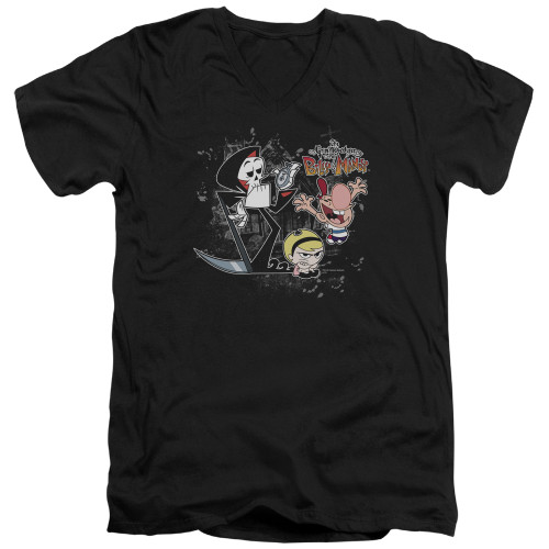 Image for The Grim Adventures of Billy and Mandy V-Neck T-Shirt Splatter Cast
