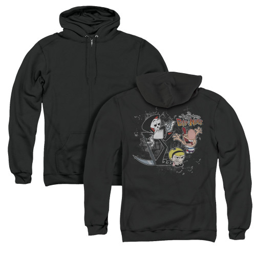 Image for The Grim Adventures of Billy and Mandy Zip Up Back Print Hoodie - Splatter Cast