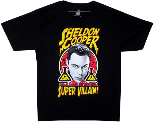Image Closeup for Big Bang Theory Dr. Sheldon Cooper a Super Villain T-Shirt