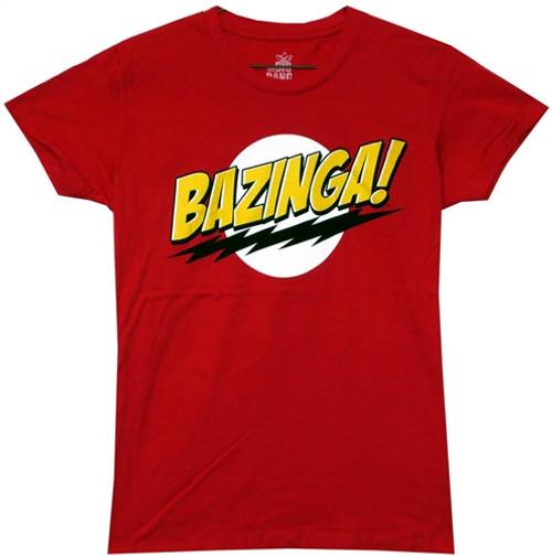 Image Closeup for Big Bang Theory Bazinga Girls T-Shirt