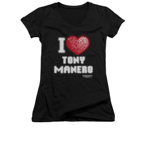 Image for Saturday Night Fever Girls V Neck T-Shirt - I Heart Tony