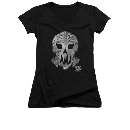 Image for Slap Shot Girls V Neck T-Shirt - Goalie Mask