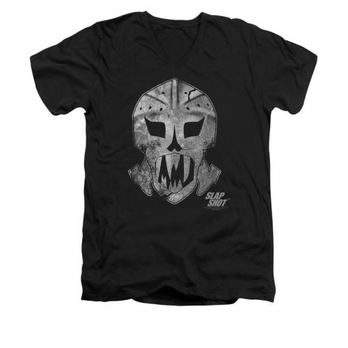 Image for Slap Shot V-Neck T-Shirt - Goalie Mask