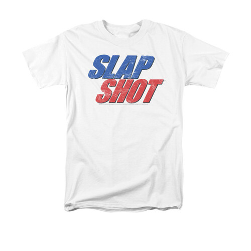 Image for Slap Shot T-Shirt - Blue & Red Logo