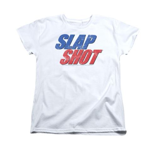 Image for Slap Shot Woman's T-Shirt - Blue & Red Logo