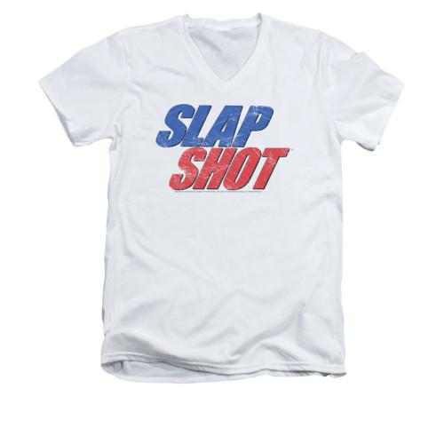 Image for Slap Shot V-Neck T-Shirt - Blue & Red Logo