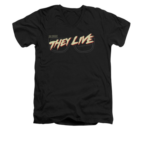 Image for They Live V-Neck T-Shirt - Glasses Logo