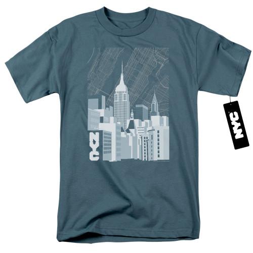 Image for New York City T-Shirt - Manhattan Monochrome on Slate