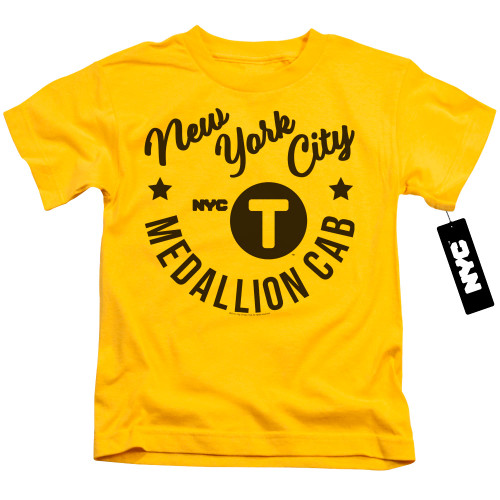 Image for New York City Kids T-Shirt - NYC Hipster Taxi Tee on Yellow