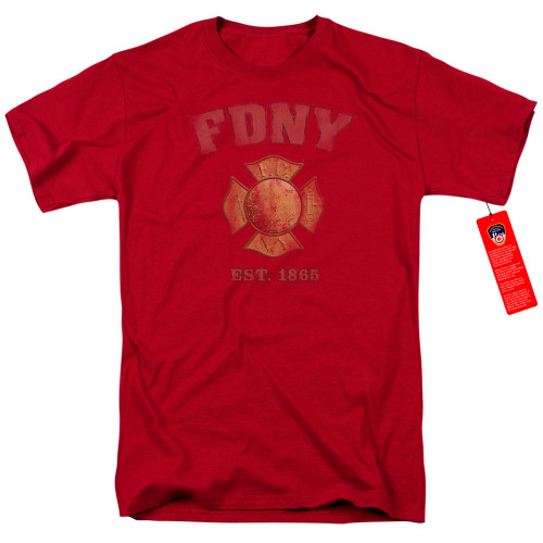 Image for New York City T-Shirt - FDNY Vintage Badge on Red