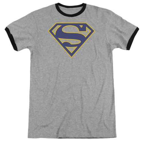 Image for Superman Ringer - Maize & Blue Shield on Grey
