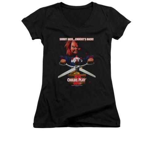 Child's Play Girls V Neck T-Shirt - Chucky's Back