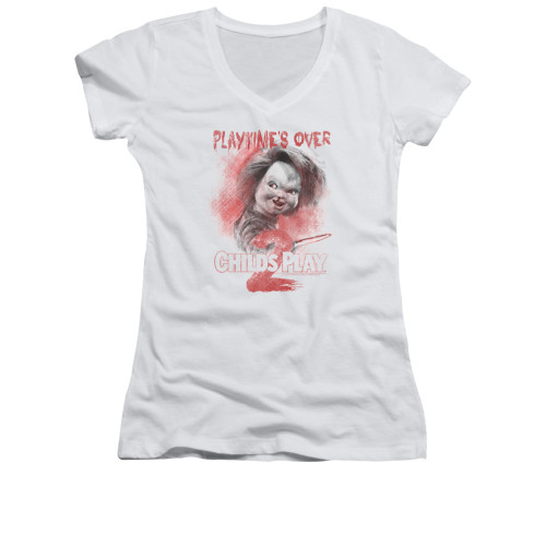 Child's Play Girls V Neck T-Shirt - Play Time's Over