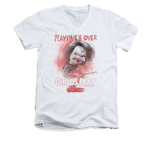Image for Child's Play V-Neck T-Shirt - Play Time's Over
