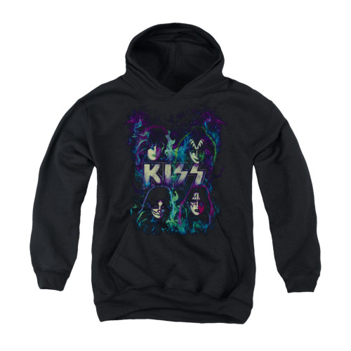Image for Kiss Youth Hoodie - Colorful Fire