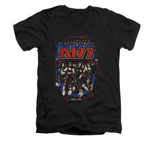 Image for Kiss V-Neck T-Shirt - Destroyer