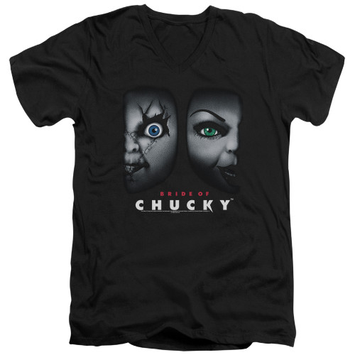 Image for Bride of Chucky V-Neck T-Shirt Happy Couple